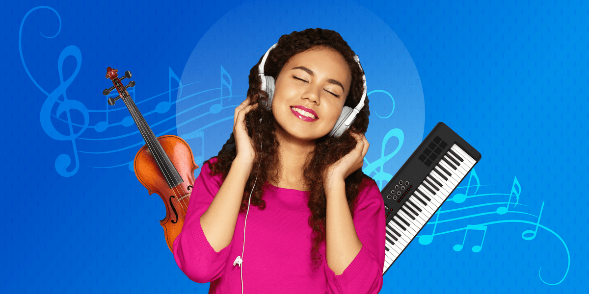 Woman student listening to headphones and surrounded by instruments