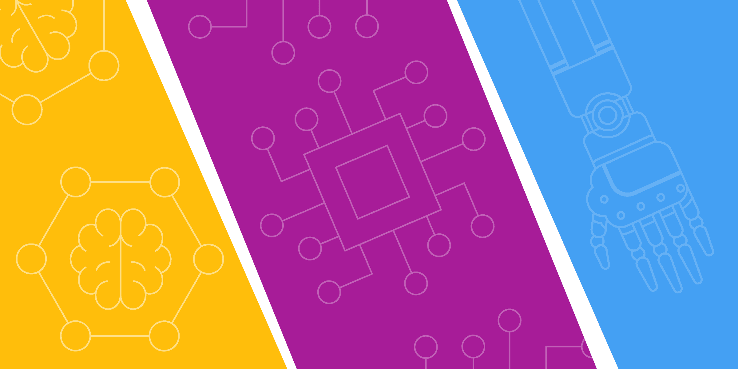 Illustration representing blockchain, robotics, and artificial intelligence