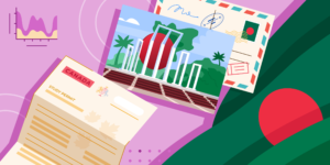 ApplyInsights: Study Permits Trends in Canada – Bangladesh banner featuring the Bangladeshi flag, a Canadian visa letter, and a postcard graphic of the Shahid Minar