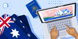 ApplyInsights: International Students Extending Their Australian Studies banner featuring student hands on an open laptop, Australian passport, Australian flag, and image of Sydney Opera House