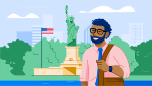 Illustration of man standing in front of Statue of Liberty