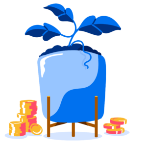 Illustration of coins next to a potted plant