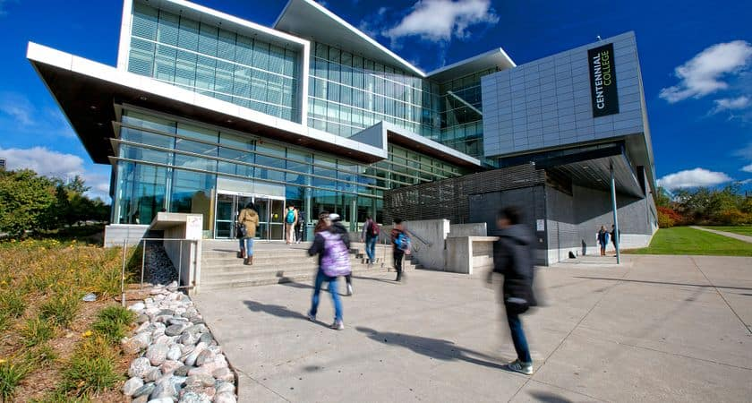 Students on Centennial College campus