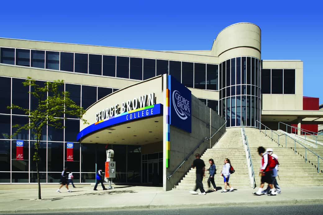 Students walking in front of George Brown College