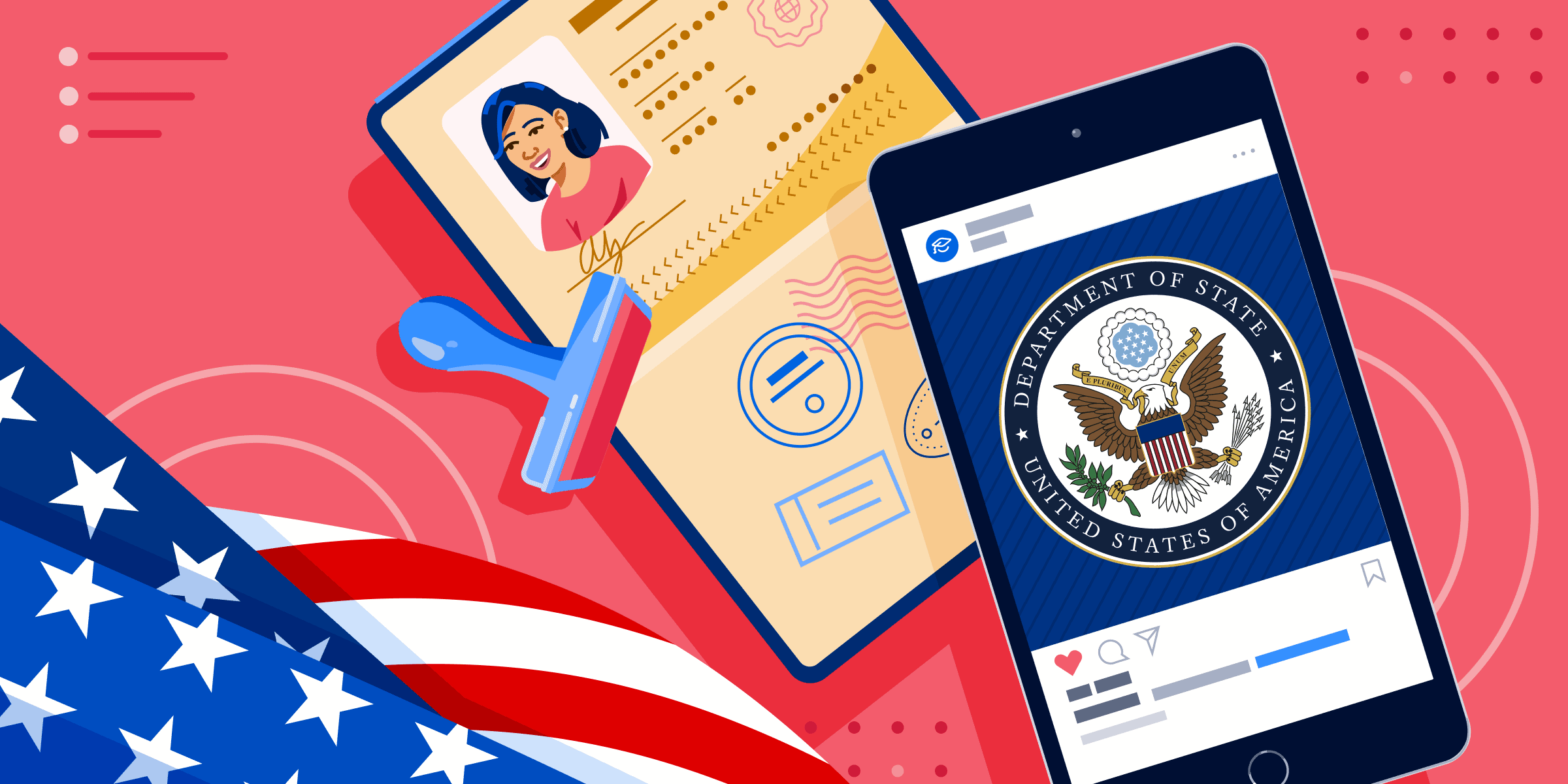 A passport, a passport stamp, a smartphone displaying the seal of the US Department of State, and a folded American flag.