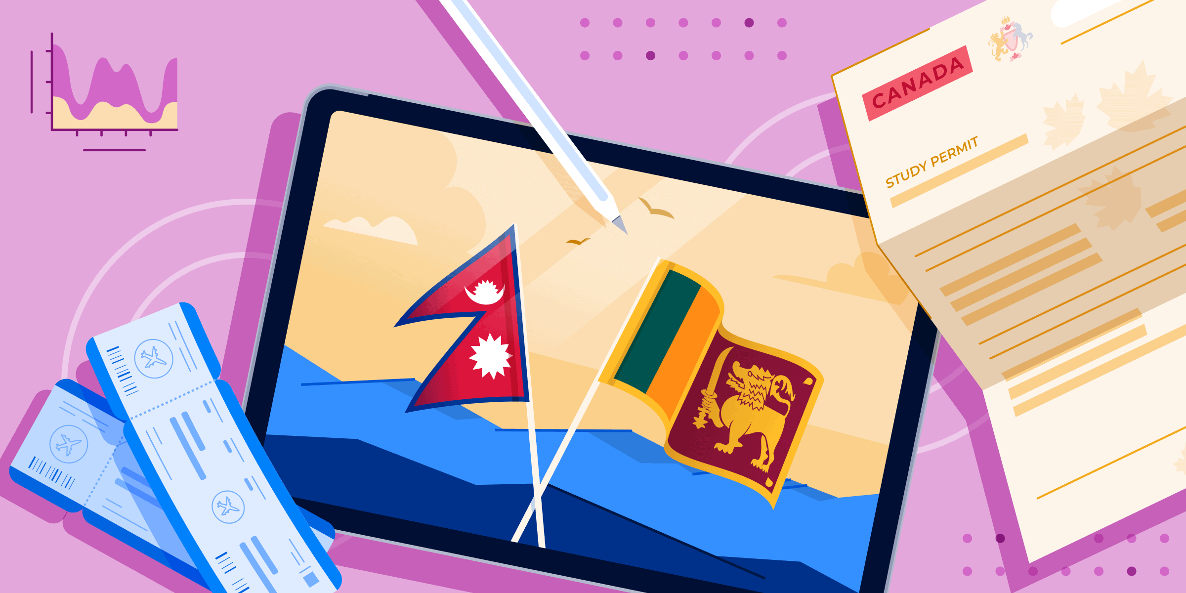 AI Sri Lanka & Nepal banner featuring flags of both countries, immigration documents, and a tablet