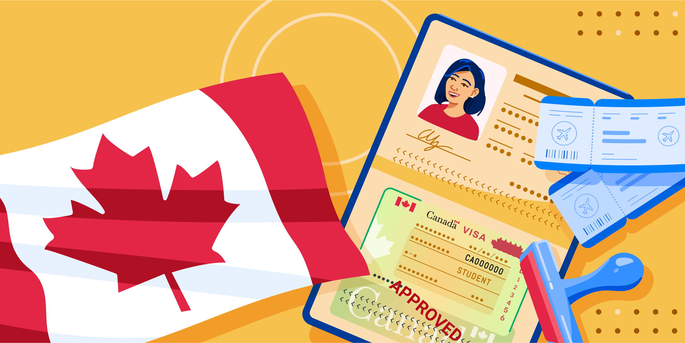 ApplyInsights: Applicant Age a Major Factor in Canadian Student Visa Approval banner featuring Canadian flag, visa, stamp, and plane tickets