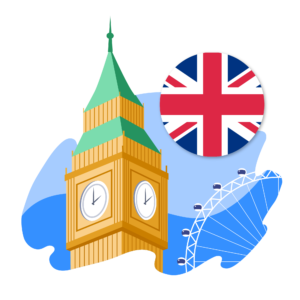 A graphic of the United Kingdom's flag, clock tower, and ferris wheel.