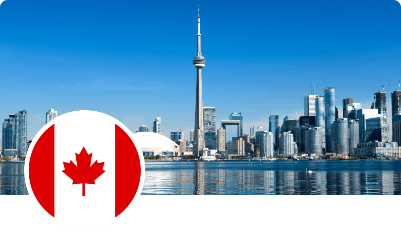 Photo of CN Tower and Canada flag