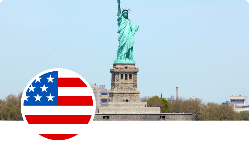 Photo of Statue of Liberty and US flag