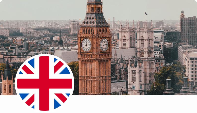 Photo of Big Ben and UK flag