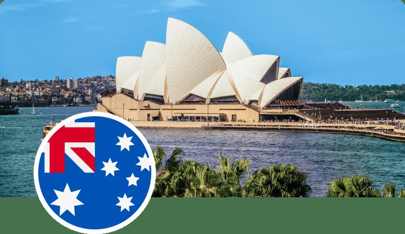 Photo of Sydney Opera House and Australia flag