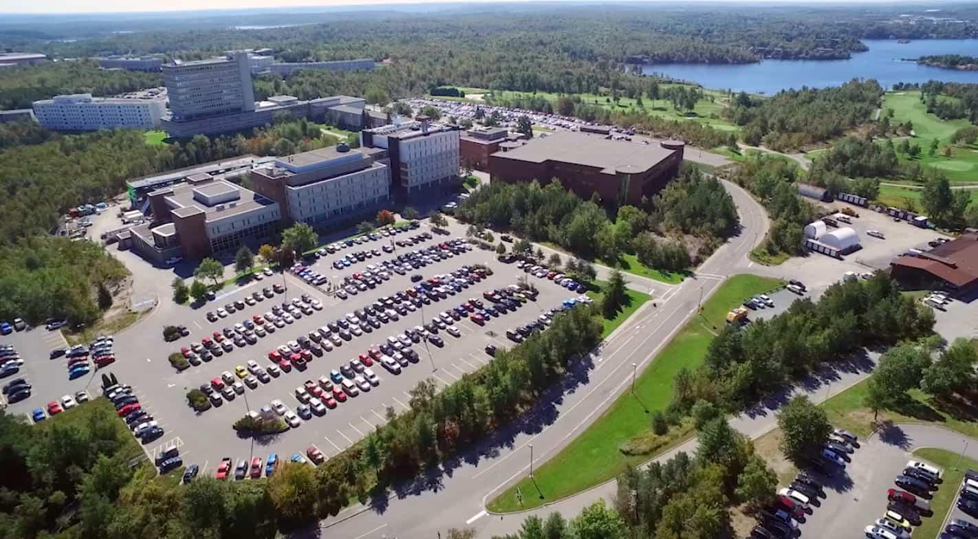 An aerial shot of Laurentian University's campus.