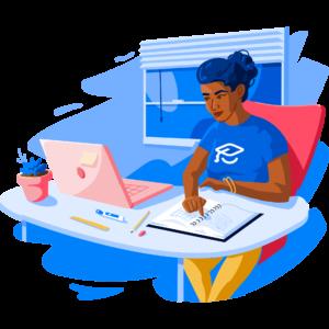 Illustration of RP at desk