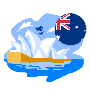 A graphic of Australia's flag and Sydney Opera House.