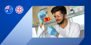 A photo of a male engineering student holding a beaker filled with chemicals laid on a blue graphic with the Australian and UK flags in the top left corner.
