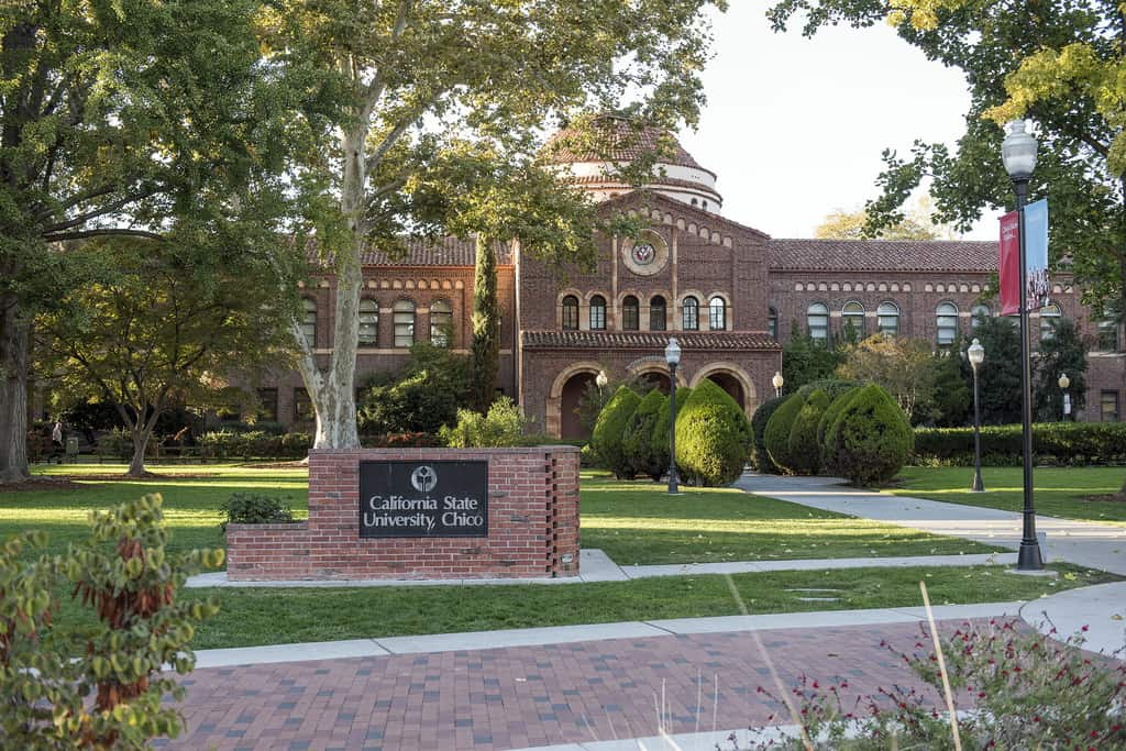 A photo of California State University, Chico campus.