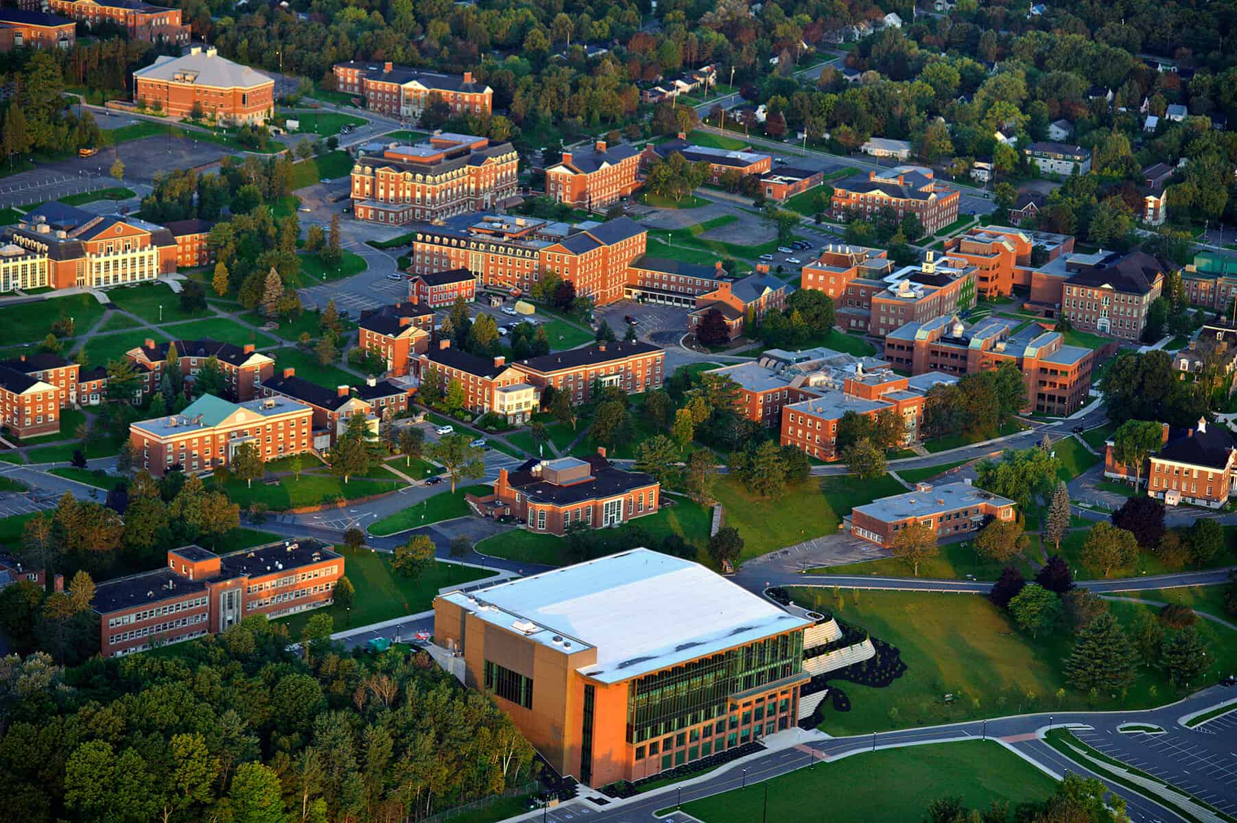 An aerial shot of the University of New Brunswick's campus.