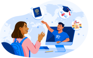 Illustration of ApplyBoard student with images of passport, grad cap and diploma, and school