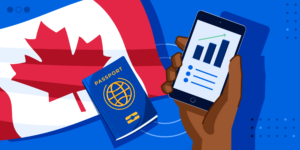 ApplyInsights: Mature International Students Drawn to Canadian Colleges banner featuring Canadian flag, passport, and graph on a cellphone