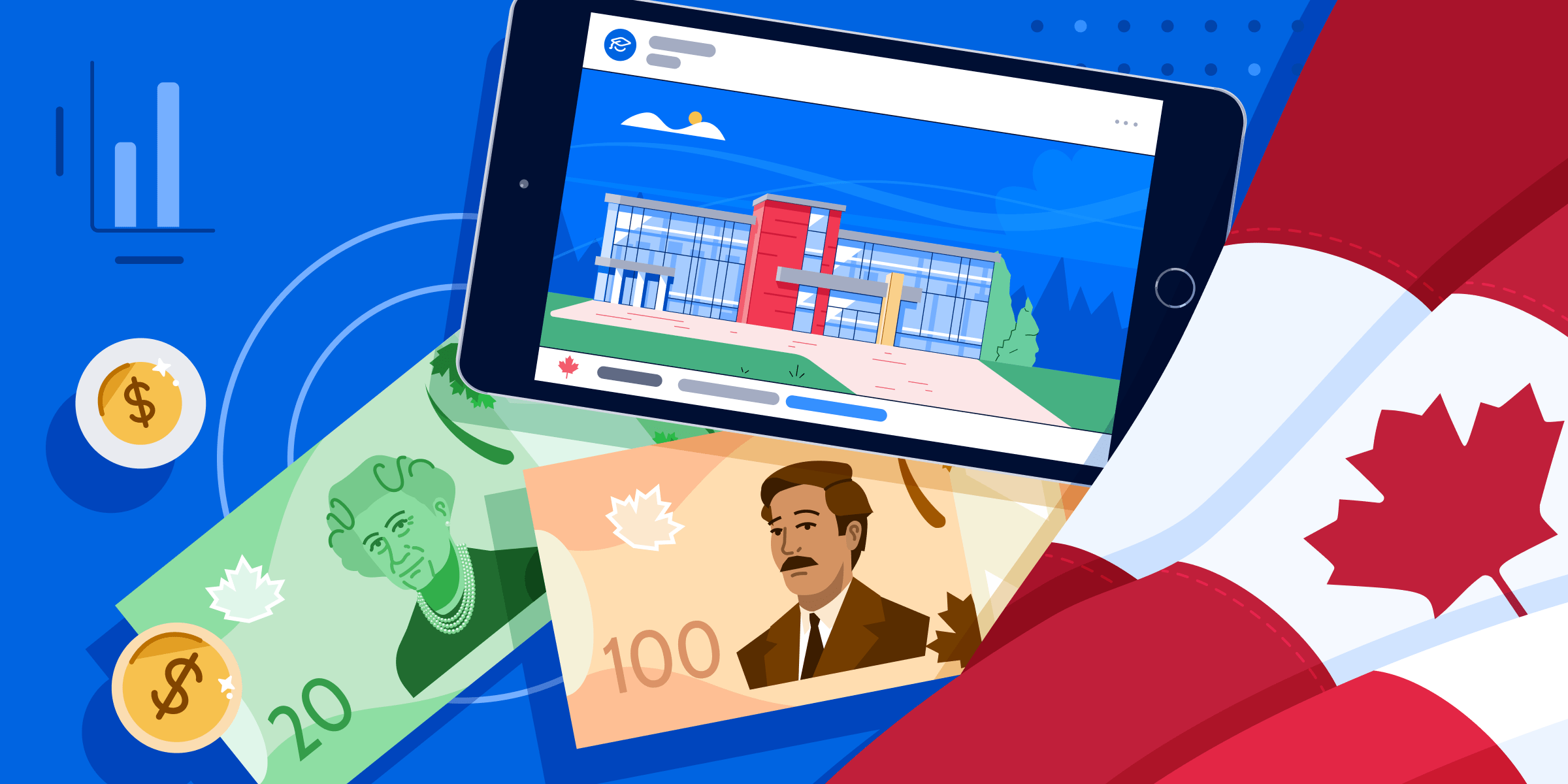 ApplyInsights: The Economic Impact of the Pandemic on Canadian Universities banner featuring Canada flag, $100, $20, and tablet screen