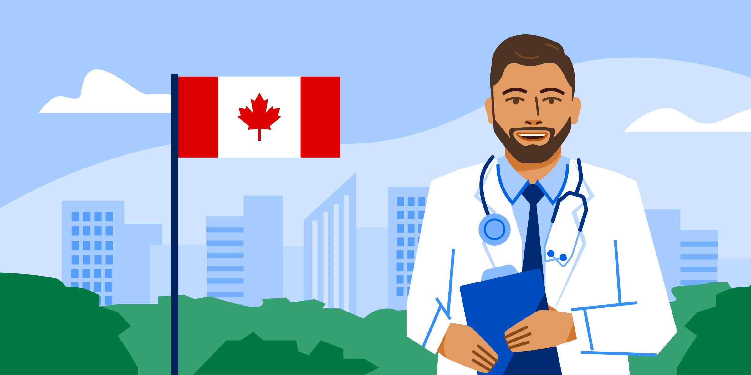 Illustration of Saudi student studying healthcare