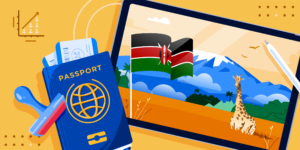 ApplyInsights: Study Permit Trends in Canada – Kenya banner featuring a passport, a stamp, a Kenyan flag, and a postcard with a giraffe