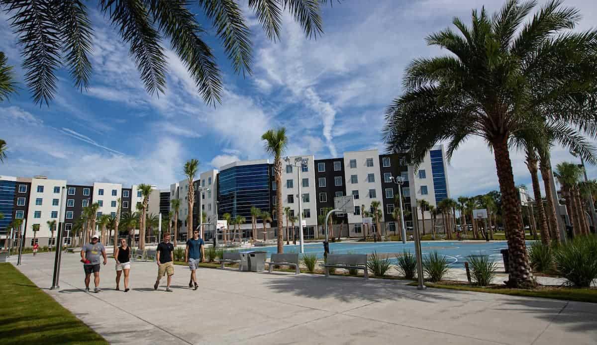 Students walking around Embry-Riddle Aeronautical University – Daytona Beach Campus.
