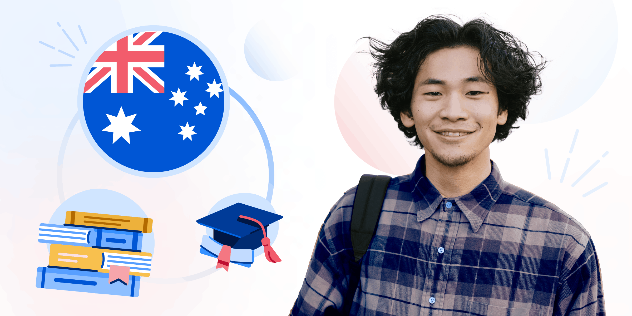 An illustration of a male student with Australia's flag, grad hat, and books graphic behind him.