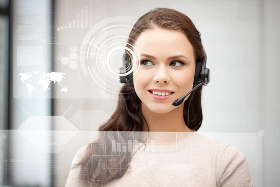A photo of a call centre agent.