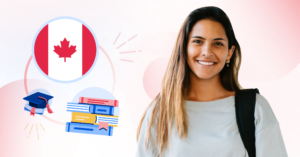 Combination of a photo and an illustration of a female student with a Canadian flag, grad cap, and books in the background.