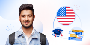 An illustration of male student with American flag, grad hat, and books graphic behind him.