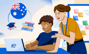 An illustration of two students at a desk with Australia's flag, grad hat, and books graphic behind them.