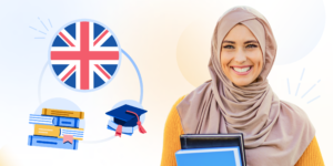An illustration of a female student with Britain's flag, grad hat, and books graphic behind her..