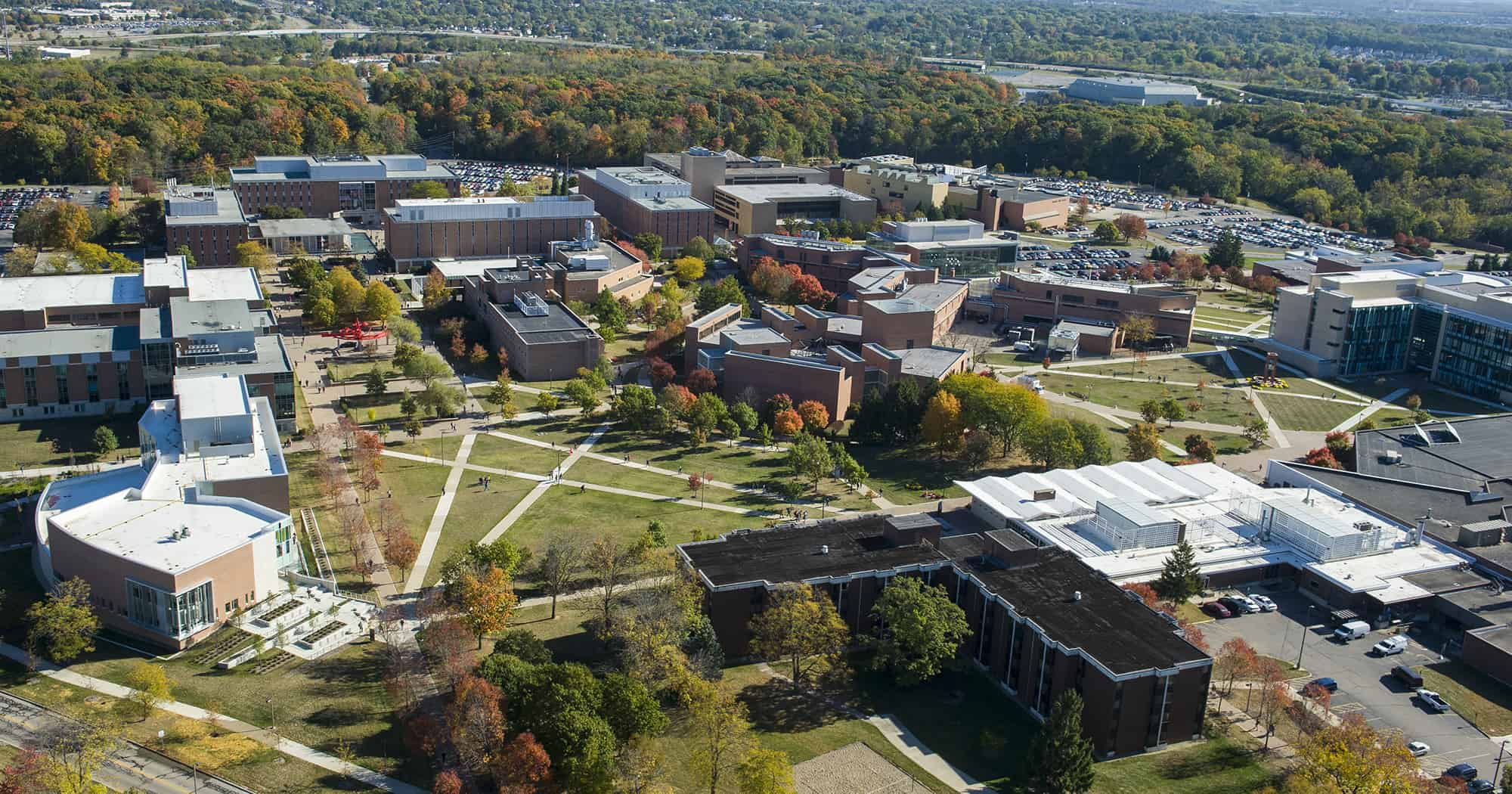 An aerial photo of Wright State University's campus.